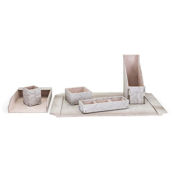 6-Piece Gray Faux Snakeskin Office Desk Set in Gift Box