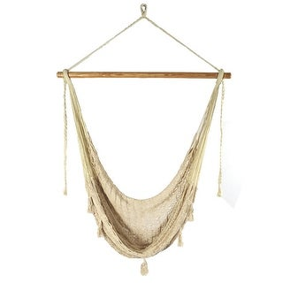 Sunnydaze Natural-Color Extra-Large Hanging Mayan Rope Hammock Chair Seat - X-Large