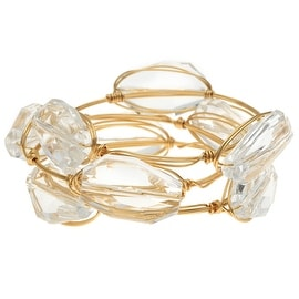 Wire Wrapped Bangle Bracelets, Set of 3, Clear Faceted Acrylic and Gold, Exclusive Beadaholique Jewelry Kit