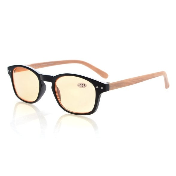 8902c22ef9 Shop Bamboo Look Temples Anti Blue Ray Reading Glasses Orange Tinted Lenses+0.50  - Free Shipping On Orders Over  45 - Overstock - 15193693