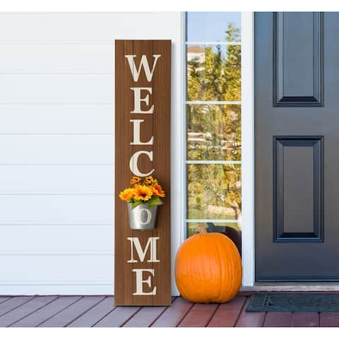 """Glitzhome 42""""H Wooden WELCOME Porch Sign with Metal Planter"""