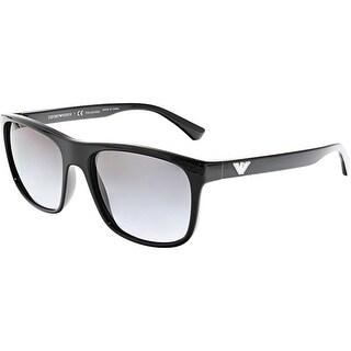 Emporio Armani Men's EA4085-5017T3-56 Black Rectangle Sunglasses