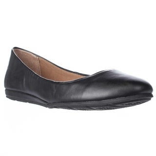 AR35 Ellie Casual Round Toe Ballet Flats, Black Smooth