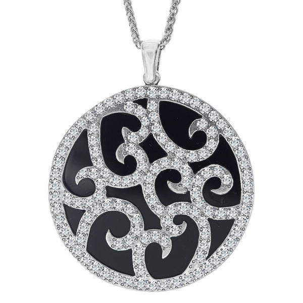 Van Kempen Art Deco Medallion Pendant with Swarovski Crystals in Sterling Silver - White