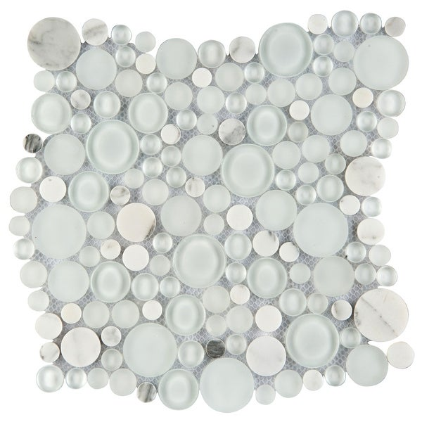 Emser Tile W80LUCE1212MOC Lucente - Penny Mosaic Floor and Wall Tile - Textured Glass Visual