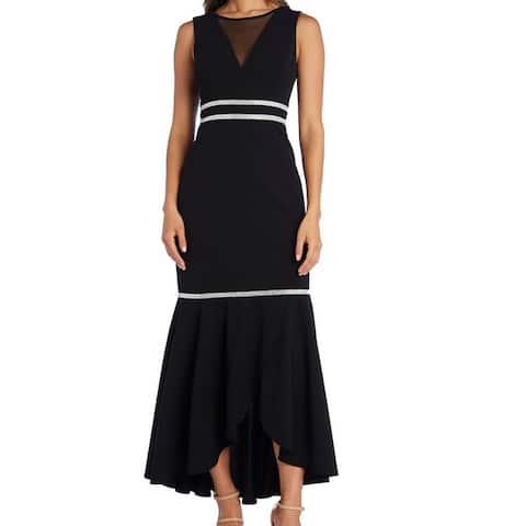 R&M Richards Womens Embellished Illusion Black Size 14 A-Line Dress