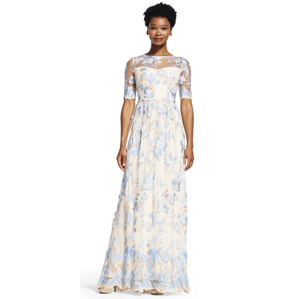 Adrianna Papell Embroidered Lace Round Neck Elbow-Sleeve Gown, THNRC ...