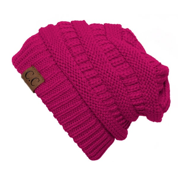 171d2d8e3aaf73 Shop Trendy Warm CC Chunky Soft Stretch Cable Knit Soft Beanie Skully, Hot  Pink - Free Shipping On Orders Over $45 - Overstock - 17034240