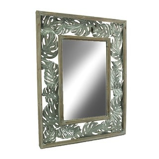 Tropical Wood and Metal Monstera Leaf Design Wall Mirror - Silver