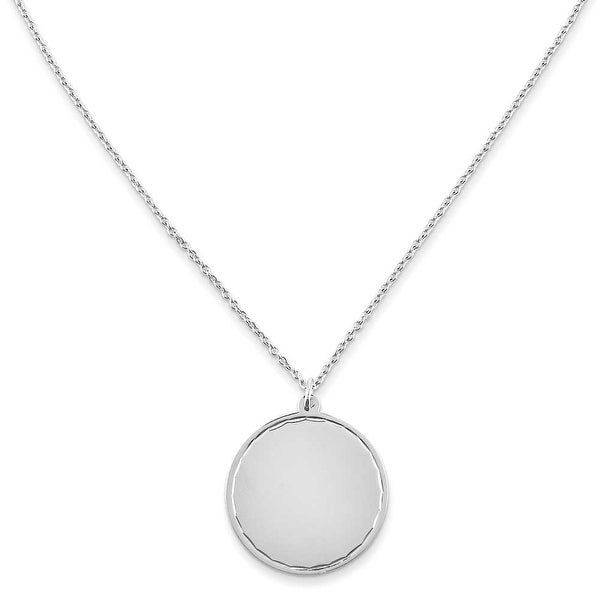 Chisel Stainless Steel Polished Engraveable Round Disc with 2in. Ext. Necklace - 18 in
