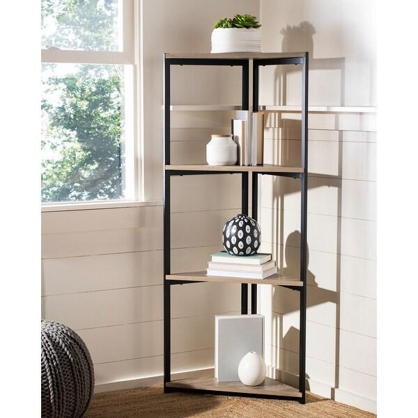 "SAFAVIEH Logan 4 Tier Corner Bookshelf - 16.5"" x 16.5"" x 55"". Opens flyout."