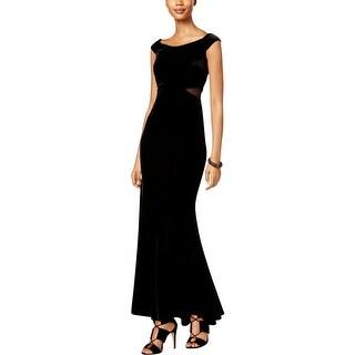 Xscape Womens Maxi Dress Faux Velvet Off Shoulder