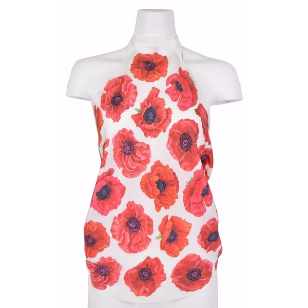 Gucci Women's 327378 Cream and Red Floral Poppy Scarf Halter Top Blouse O/S