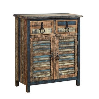 """Powell Home Fashions 114-660  Calypso 31 1/2"""" Wide 2 Drawer Fir Wood Media Cabinet with Distressed Finish - Colorful"""