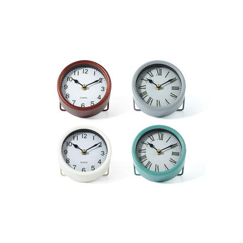 """Set of 4 Soothing Colored Round Sculpture Table Clocks 5"""""""