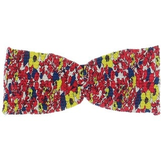 Tori Praver Womens Smocked Floral Print Swim Top Separates - L