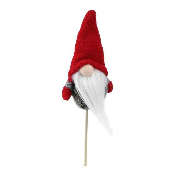 "11.5"" Tiny Gray Faux Fur Santa Gnome with Red Hat and Striped Arms on a Stick Christmas Decoration"