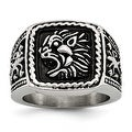 Chisel Stainless Steel Antiqued Lion Ring (15 mm) - Thumbnail 0