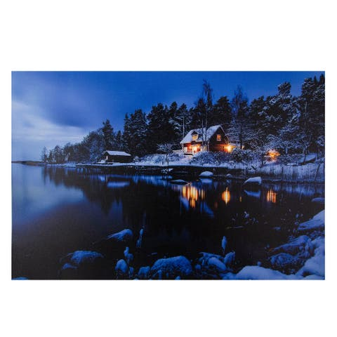 """23.75"""" LED Lighted Rustic Lodge Cabin on the Lake Canvas Wall Art"""