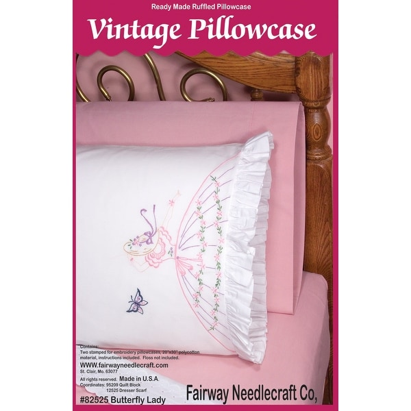 """Stamped Ruffled Edge Pillowcases 30""""X20"""" 2/Pkg-Butterfly Lady"""