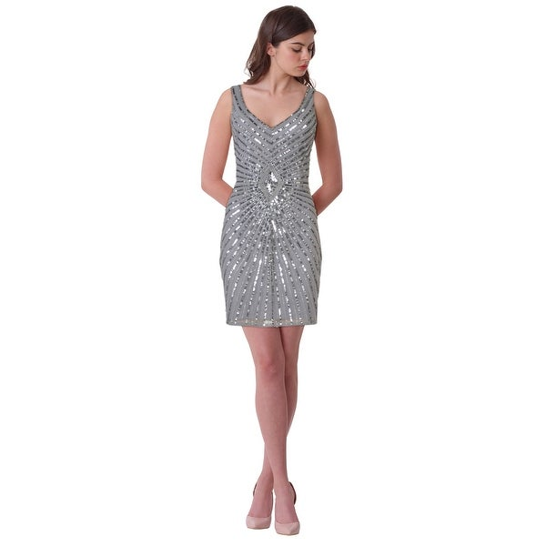 bc66775bdfd Shop Aidan Mattox Diamond Motif Sequined Cocktail Dress - 8 - Free ...