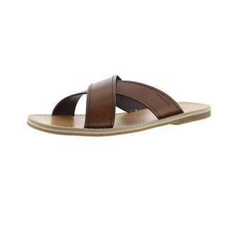 Prada Mens Leather Criss-Cross Slide Sandals - 11.5