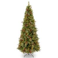 7.5 ft. Colonial Slim Tree with Clear Lights - green