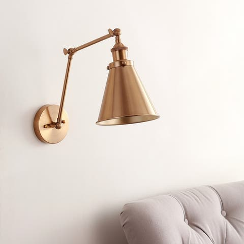 "Rover 7"" Adjustable Arm Metal LED Wall Sconce, Brass by JONATHAN Y"