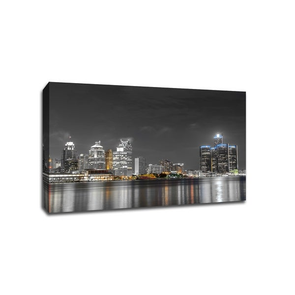 Detroit - Touch of Color Skylines - 36x24 Gallery Wrapped Canvas Wall Art ToC