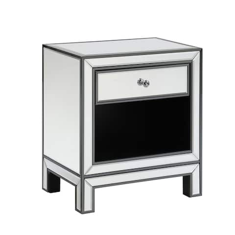 Mirrored Rectangle 1-drawer End Table
