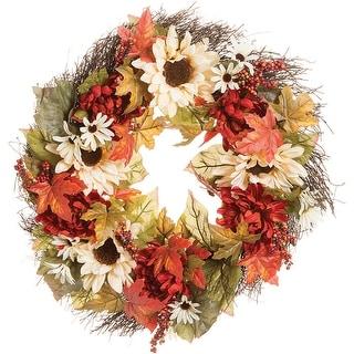 "Daisy & Sunflower Twig Wreath 24""-Fall Colors - fall colors"