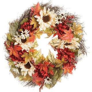 "Daisy & Sunflower Twig Wreath 24""-Fall Colors"