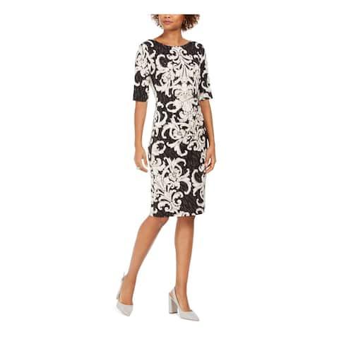 CONNECTED APPAREL Black 3/4 Sleeve Knee Length Sheath Dress Size 16
