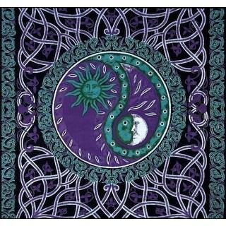 Handmade Celtic Celestial Yin Yang 100% Cotton Tapestry Bedspread Purple Twin Full