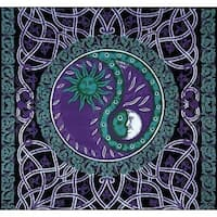 Handmade Celtic Celestial Yin Yang 100% Cotton Tapestry Bedspread Purple Twin Full