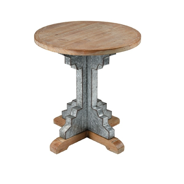 """24"""" Brown Wooden Round Accent Table with Galvanized Steel Base - N/A"""