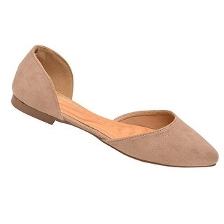 Weeboo Adult Taupe Faux Suede Finish Pointy Toe Slip -On Flats