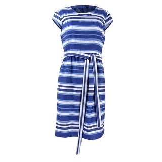 Nine West Women's Cap Sleeve Striped Belted Dress - 4
