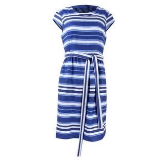Nine West Women's Cap Sleeve Striped Belted Dress