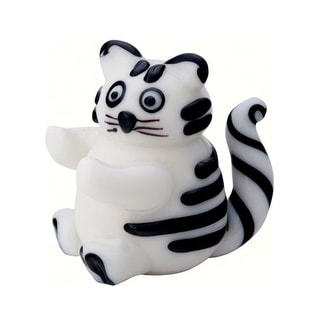 "4"" White and Black Fat Cat Glass Figurine Decoration"