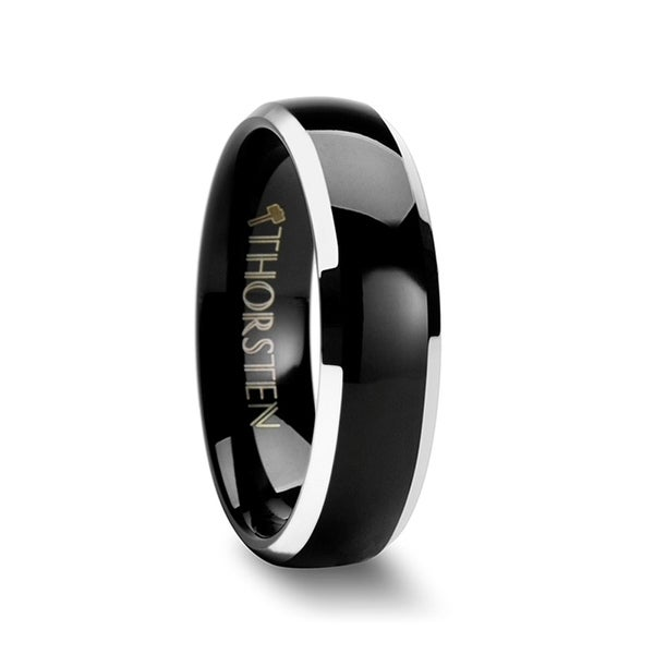 THORSTEN - MASERATI Domed Black Tungsten Band with Polished Beveled Edges - 6mm