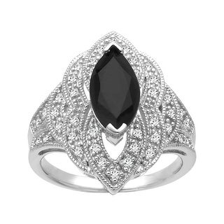 Silver Orchid Normand 1 5/8 ct Onyx and 1/4 ct Diamond Ring in Sterling Silver - Black