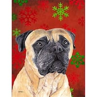 11 x 15 in. Mastiff Red and Green Snowflakes Holiday Christmas