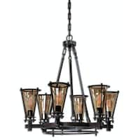 "33.5"" Ramsey Structural Metal and Cognac Tinted Glass 6-Light Hanging Chandelier - Black"