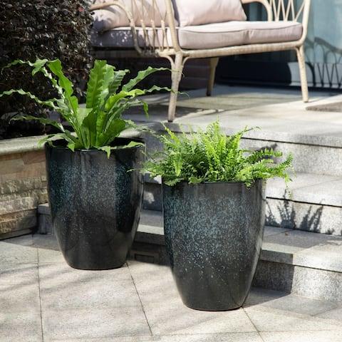 Glitzhome Eco-Friendly Oversized Faux Ceramic Plastic Pot Planters