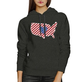 Heart USA Map With American Flag Unisex Dark Gray Pullover Hoodie