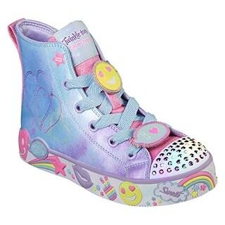 Skechers Kids Girls' Happy Lites-Positive Princess Sneaker, Light Blue/Lavender, 10.5 Medium Us Little Kid