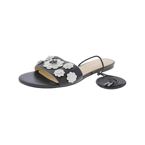 Ivanka Trump Womens Catera Flat Sandals Floral Embellished