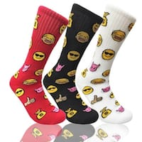 Emoji Smile Mens Funny Colorful Novelty Crew Casual Patterned Socks 3 Pair Bundle