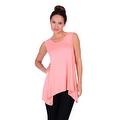 Simply Ravishing Women's Solid Round Neck Sleeveless High Low Asymmetrical Hem Tunic Top - Thumbnail 5